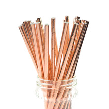 500pcs/lot New Foil Rose Gold Paper Straws Kids Birthday Party Wedding Decoration Bridal Shower Drinking DIY