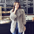 Real genuine natural fox fur coat women fashion three quarter sleeve fox fur coat medium-long overcoat outwear