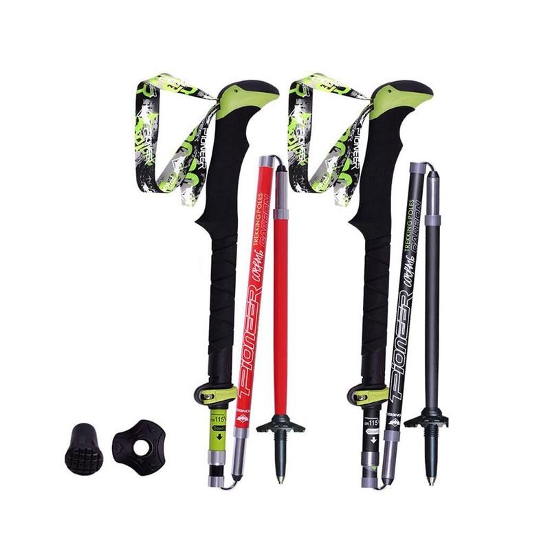 Pioneer Carbon Fiber Trekking Poles Ultralight Folding Collapsible Trail Running Hiking Walking Sticks Lightweight Canes 115cm