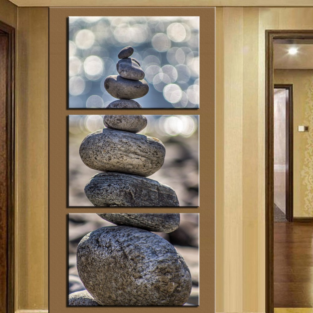 Buy no frame 3 piece stone scenery for Vertical wall art