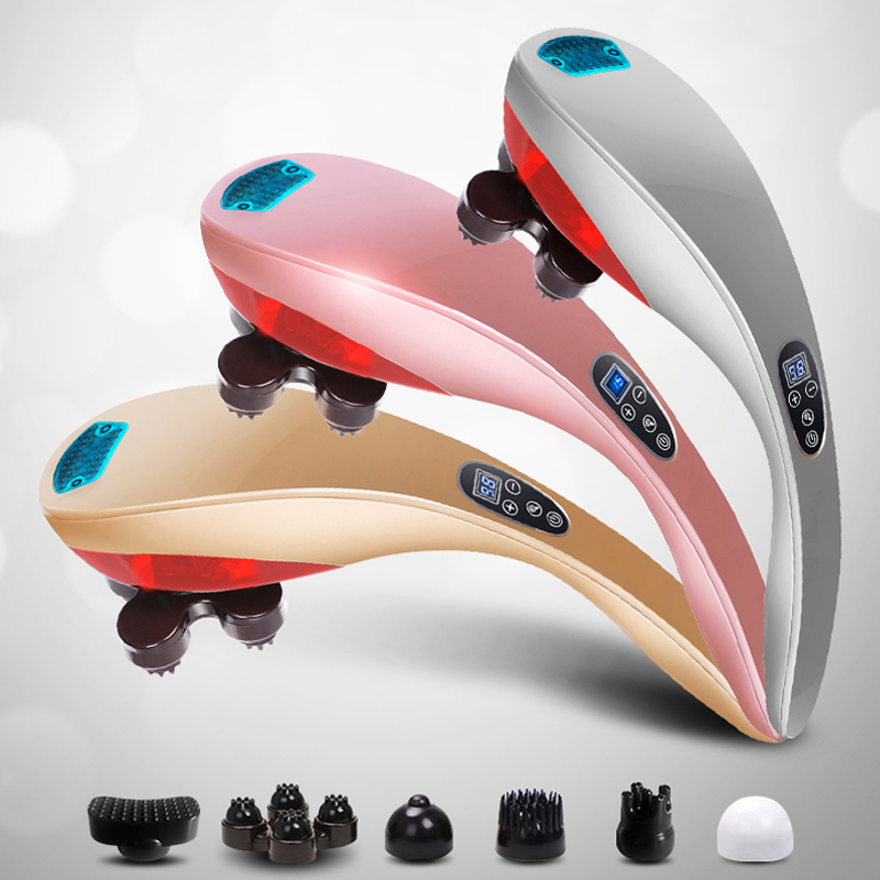 Dolphin Massage Stick Electric Cervical Vertebra Massage Device Multifunctional Full-body Massage Hammer electric full body multifunctional massage mattress vibration massage device massage cushion infrared full body massager