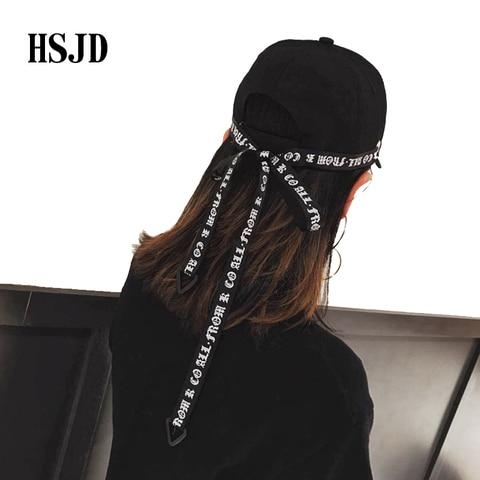 Men&Women Fashion Long Belt Ribbon Black Baseball Caps 2018 Fashion Summer New Hip Hop Cap With Ring Snapback Hat Unisex Punk Karachi