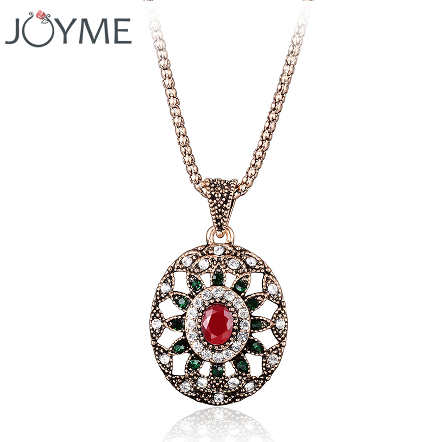 Brand Jewelry Ethnic Bohemian Statement Necklace Women Vintage Gypsy Pendant Costume Resin Crystal Necklace New 2018 Collares