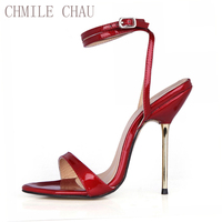 CHMILE CHAU Sexy Concise Party Shoes Women Stiletto Iron High Heels Ankle Strap Ball Ladies Sandals Zapatos Mujer 3845 i9