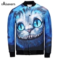 Raisevern New Autumn Fashion 3D Baseball Jackets Coats Cartoon Alice In Wonderland Cheshire Cat  Print 3D Harajuku Clothes