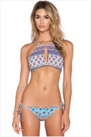 Europe Beach Party Sexy Hollow Halter Straps Bra Floral Triangle Split Swimsuit Chest Pad Strip Bikini