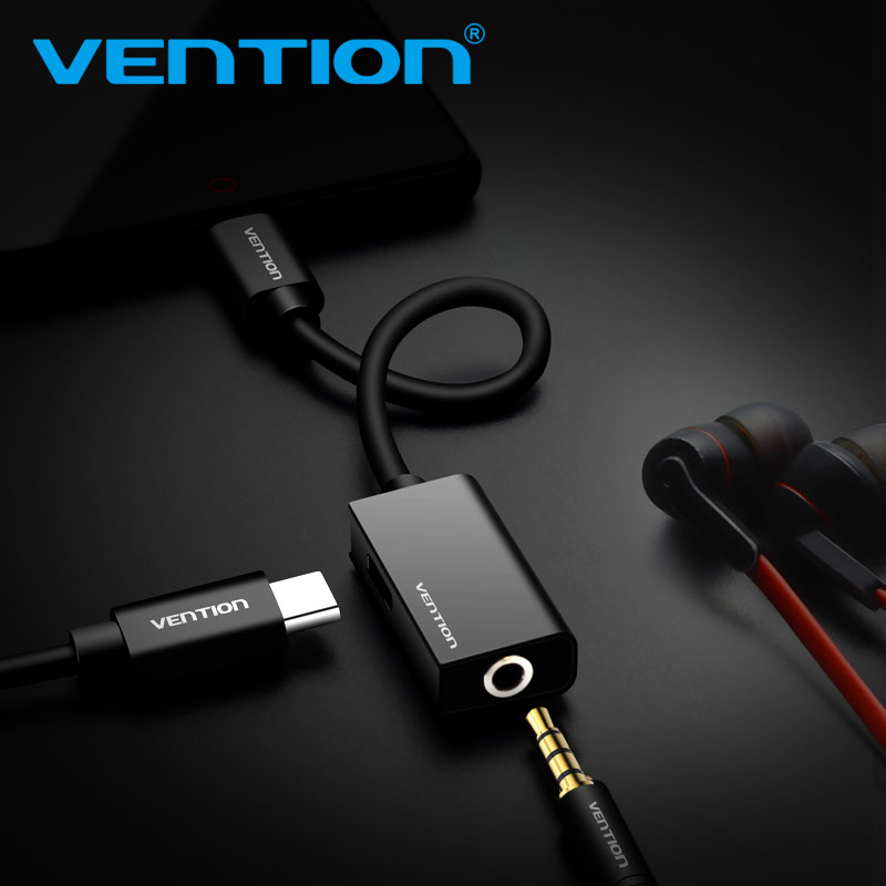 Vention USB Type C to 3.5mm Earphone Adapter Charger USB-C Audio Cable Aux 3.5 Jack Headphone Adapter for Xiaomi Mi6 MIX2 Huawei
