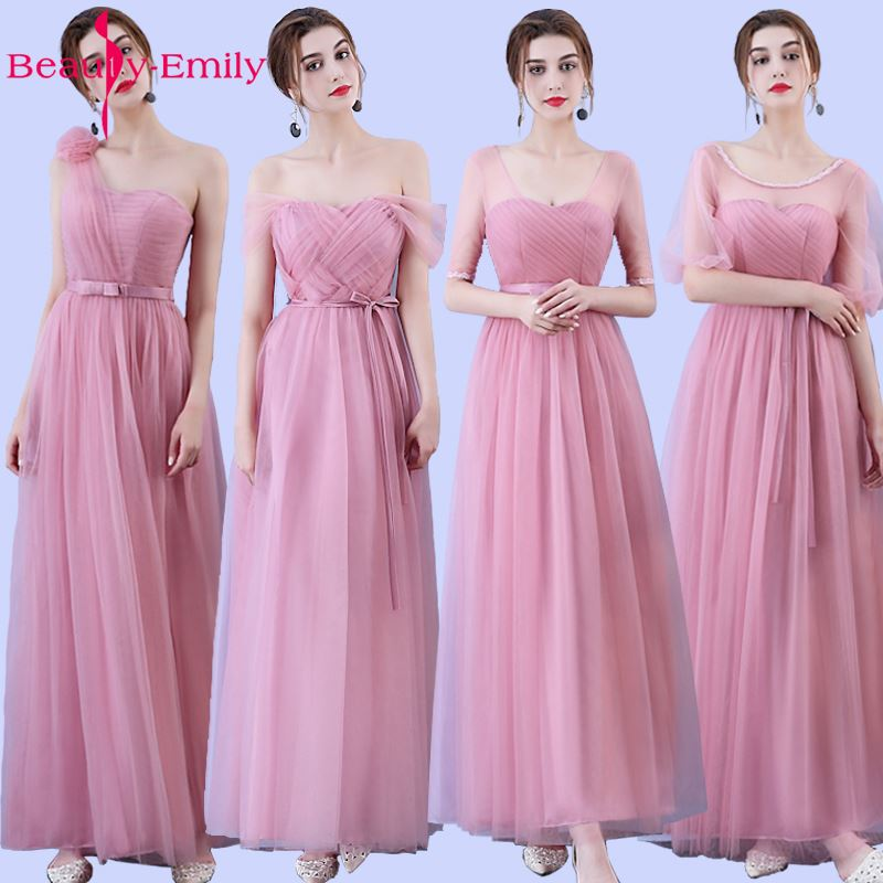 Beauty Emily Long Bridesmaid Dresses 2017 Pink A-Line Sleeveless Strapless Floor-Length Off the Shoulder Homecoming Party Dress