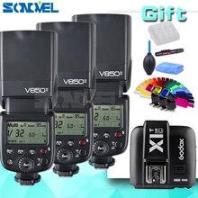 3 xGodox V850II 2.4G GN60 Sistema Inalámbrico X Li-ion Batería Speedlite + X1T-C Transmisor Del Disparador para Cámaras Canon EOS