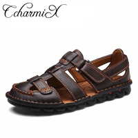 CcharmiX Men Genuine Leather Slides Sandals Gladiator Lightweight Summer Slip resistant Minimalist Business Sandals Plus Size 46