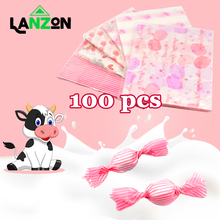 100pcs Candy Packaging Bags Baking Wrappers Paper for  Wedding Birthday Party Gift DIY Food Waxed Paper Bag