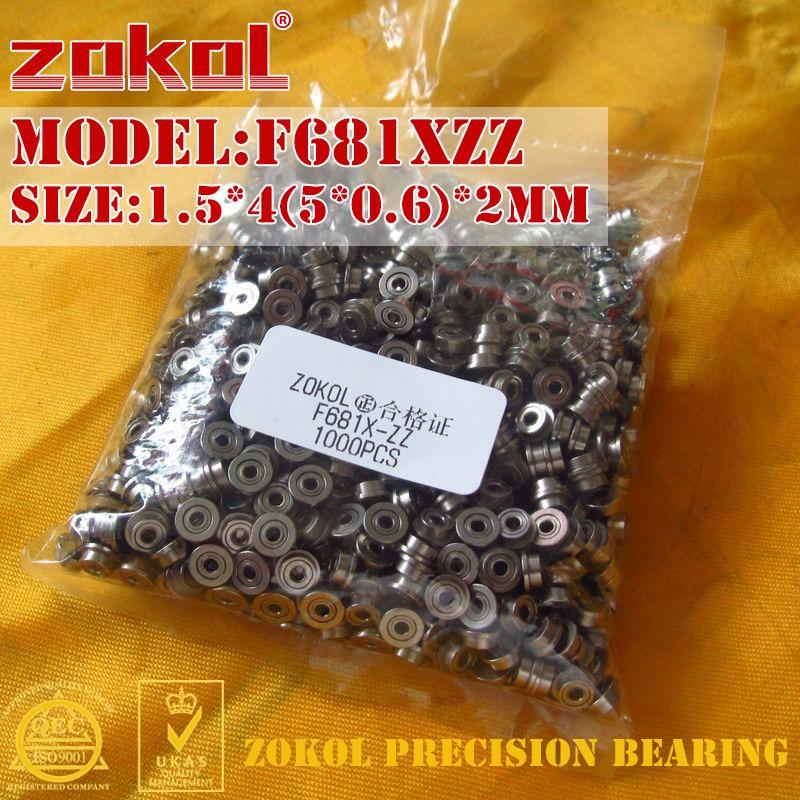 ZOKOL F681X-ZZ Bearing F681XZZ Flange Bearing F681 X ZZ Deep Groove Ball Bearing 1.5*4(5*0.6)*2mm