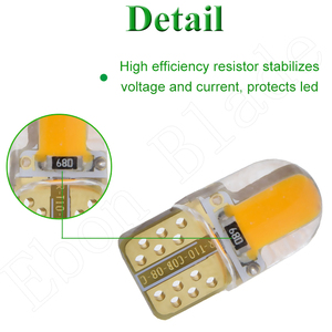 Image 5 - 2/4 Pcs Car Led Light T10 W5W 12V 194 168 2825 Lights Bulbs Silicone Cob Auto Interior Lamp Bulb Amber Yellow Orange RED White