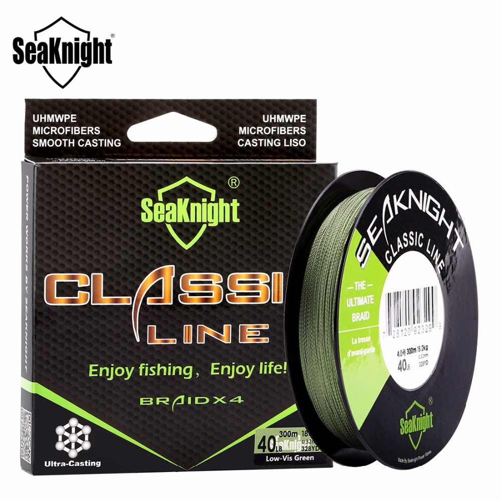 SeaKnight Classic 300M/328Yds Braided Fishing Lines 4 Strands 6-80LB Strong Japan PE Line Smooth Multifilament Carp Fishing Line