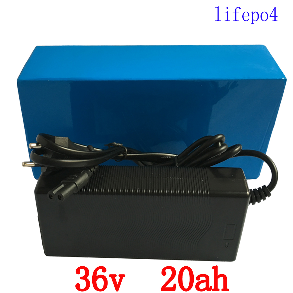 Lithium Battery 36v 20Ah 500W Scooter Battery 36v with 43.8v 2A charger,15A BMS LiFePo4 Battery 36v Electric Bike Battery 36v 36v 8ah lithium ion battery 36v 8ah electric bike battery 36v 500w battery with pvc case 15a bms 42v charger free shipping