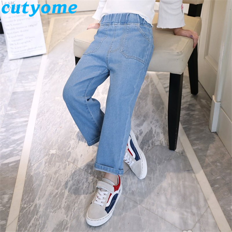 Light Blue Teenager Girls Wide Leg Jeans 2019 Spring Autumn Children Casual Solid Streetwear Denim Pants Kids Trousers 7/8 12 13 5