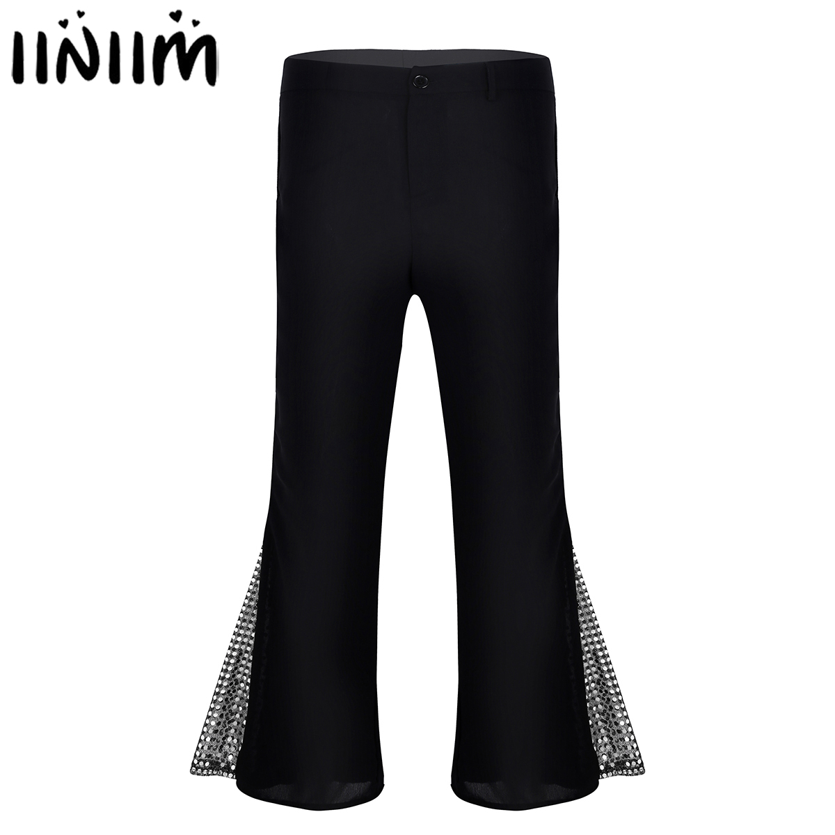 Adult Mens Clubwear Sexy Dance Clothing Retro 70s Disco Pants Mid Waist Bell Bottom Flared Side With Sequins Dance Long Trousers