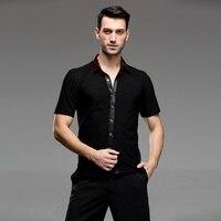 Hot Sale New 2018 Plus Size Black Waltz Latin Dance Top Men Latin Dance Shirts Men Ballroom Dance Shirt Dance Jacket B 5983