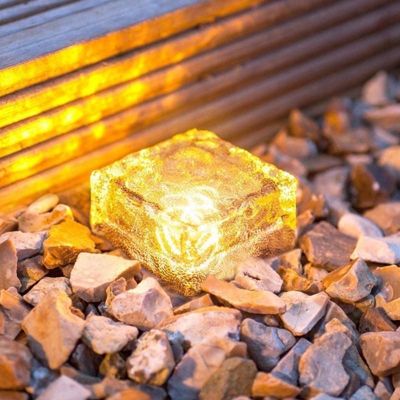 Tijolo de vidro paver jardim luz (1