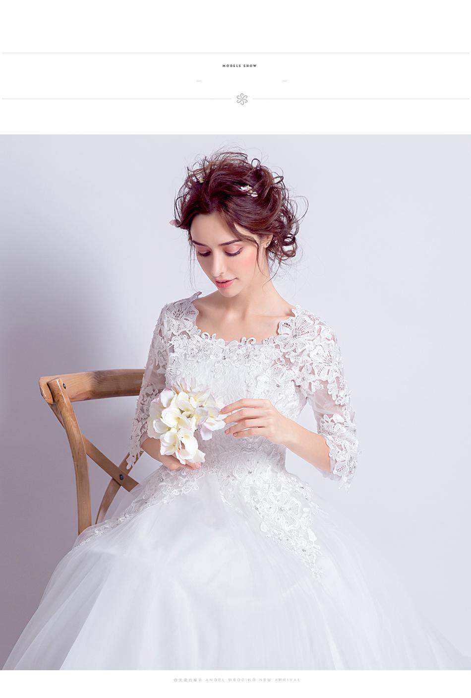 Angel Wedding Dress Marriage Bride Bridal Gown Vestido De Noiva 2017 Boat Neck horn sleeve, big tail 6910 9
