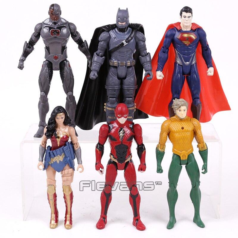 DC герои Бэтмен Супермен Чудо-Женщина Аквамен зеленый Фонари киборг вспышки ПВХ Фигурки Игрушечные лошадки подарки для детей Детская
