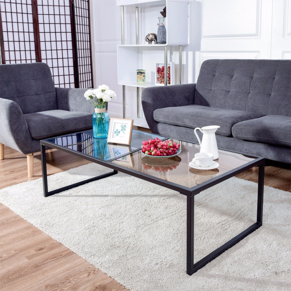 Giantex Rectangular Coffee Table Tempered Glass Top Metal Frame Living Room Furniture HW57282
