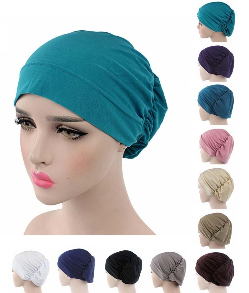 Muslim Stretch Spandex Cloth Women Headband Net Head Caps Chemical Hat TJM-146 Hair Accessories Free Shipping