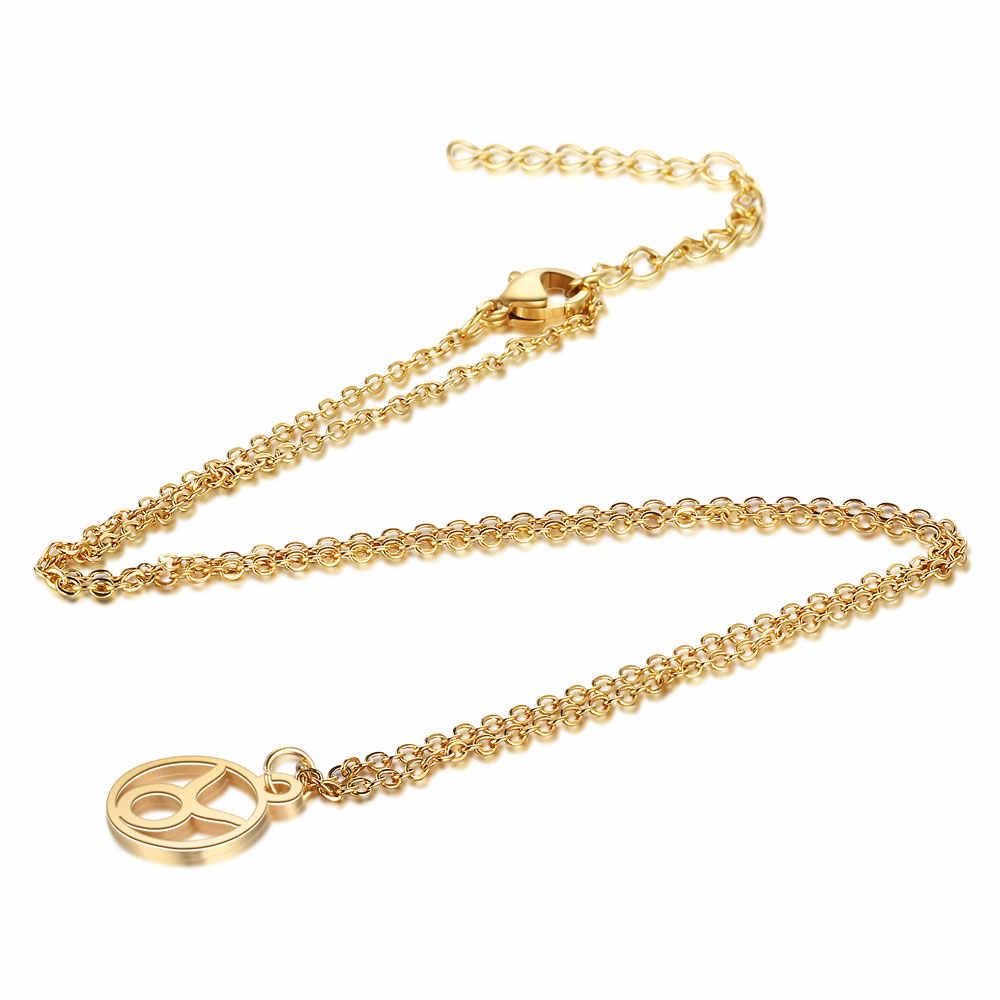Cxwind 12 znak zodiaku naszyjnik horoskop ze stali nierdzewnej astrologia okrągły choker naszyjnik dla kobiet biżuteria konstelacji