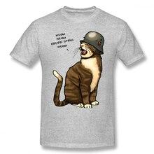 Wehrmacht T Shirt German Big Cat T-Shirt Funny Short-Sleeve Tee Printed Casual Men 100 Cotton Plus size Tshirt