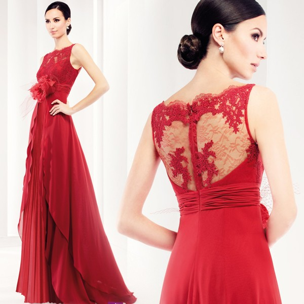 Elegant-A-line-Scoop-See-Through-Back-Handmade-Flowers-Ruffles-Chiffon-Red-Long-Evening-Dress-2015