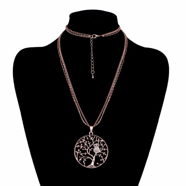 Online shop tree of life pendant necklaces cool rhinestone owl tree of life pendant necklaces cool rhinestone owl silver color chain necklace fashion jewelry gift for women weddingparty mozeypictures Images