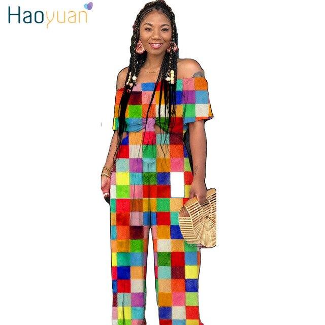 ea1200b1199 HAOYUAN Plus Size 2 Piece Set Women Outfits Off Shoulder Crop Top+Front  Slit Wide Leg Pants Suits Casual Two Piece Matching Sets