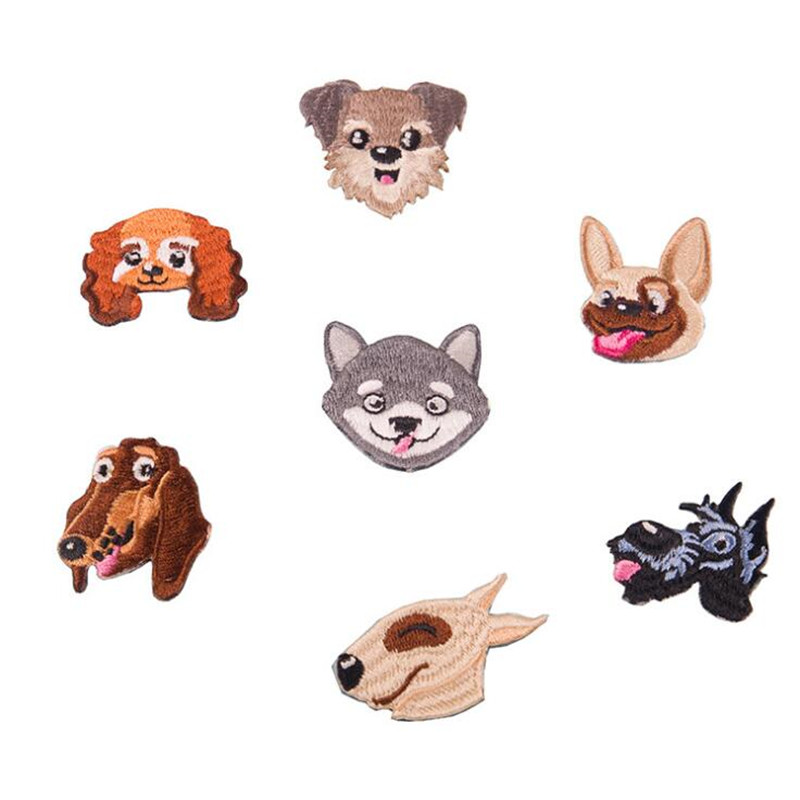 Lovely Dog Heads Badges Parches Embroidered Iron On Patches For DIY Cloth Patch Fashion Design Motif Applique Badge in Patches from Home Garden