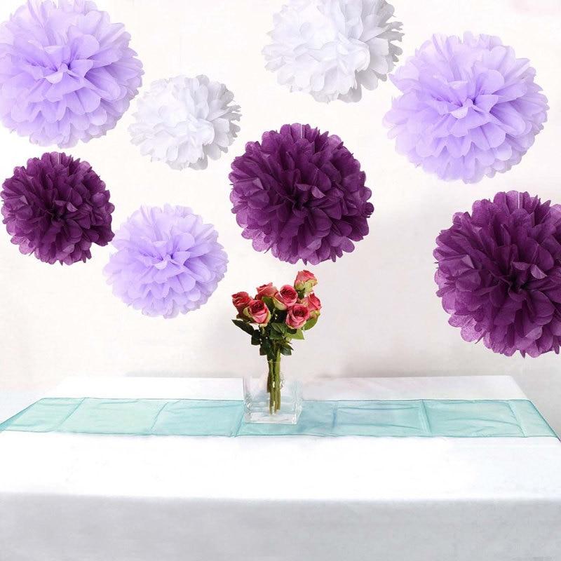 Bulk 18pcs Mixed Purple Lavender White DIY Tissue Paper Flower Pom Poms Wedding Baby Shower