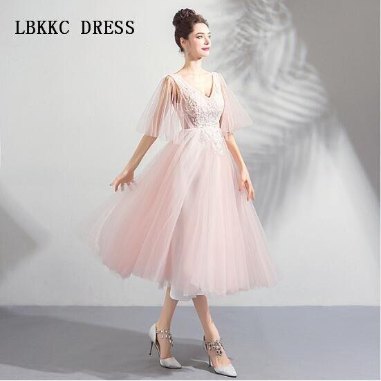 Graduation Dresses Pink Homecoming Dresses Half Sleeves Tea Length Special Occasion Dresses Vestido De Formatura