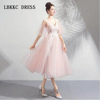 Graduation Dresses Pink Homecoming Dresses Half Sleeves Tea Length Special Occasion Dresses Vestido De Formatura