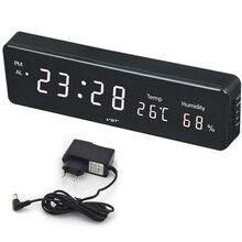 Büyük sayı büyük LCD dijital duvar saati elektronik masa saati masa saati sıcaklık takvim başucu Nixie duvar resmi