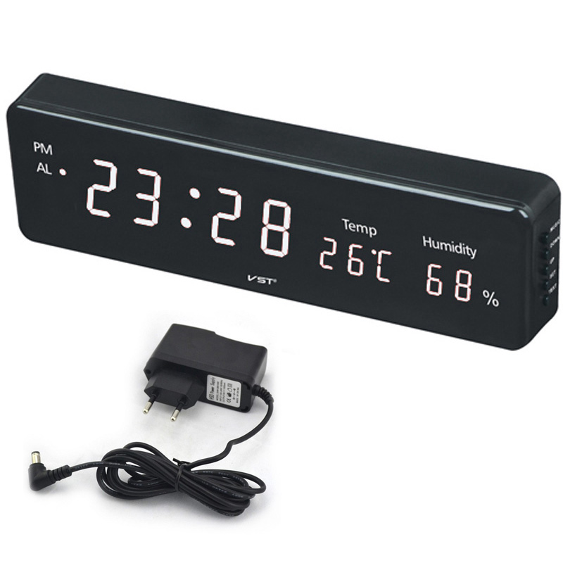 Big Number Large LCD Digital Wall Clock Electronic Table Watch Desk Clock with Temperature Calendar Bedside Nixie Wall mural(China)