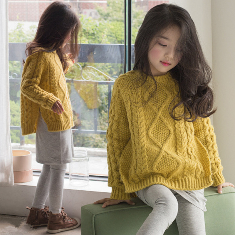 Girls Sweater Baby Coat 2018 Autumn and Winter Kids Pullover Knit Coat Children Beautiful Sweater Tops Toddler Cotton,#3281 invisible green simple design pullover knit sweater