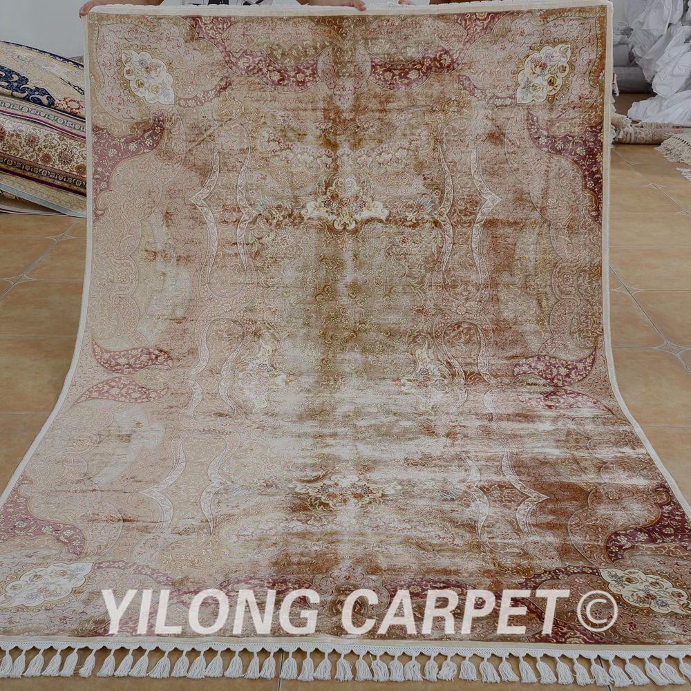 Yilong 5.5'x8' Handmade camel carpet floral hand knotted persian rug dealers (1556)