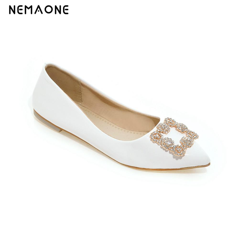 NEMAONE SUMMER  flats shoes women 2016 Plus Size 35-43 Fashion Flats for Women Pointed Toe Soft Flat Heel Shoes Rhinestone flats black red 2015 full grain leather women s summer comfortable shoes pointed toe rhinestone fashion flat heel shoes for women