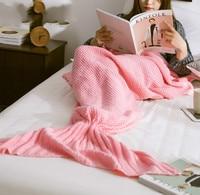 DIY Free Shipping Mermaid Tail Blanket Yarn Knitted Handmade Crochet Mermaid Blanket Kids Throw Bed Wrap
