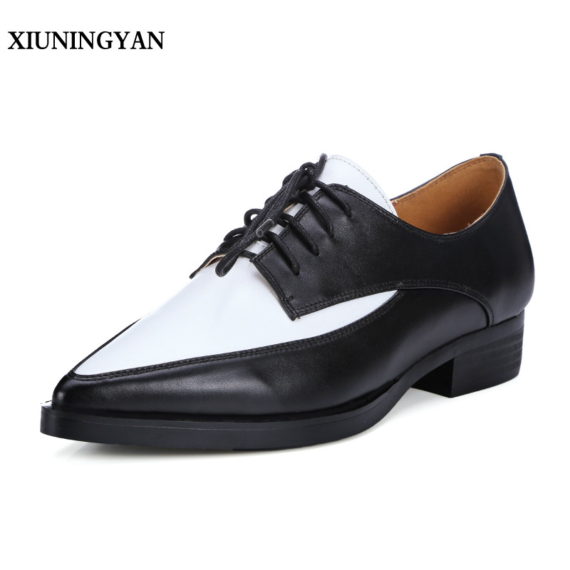 XIUNINGYAN Women Shoes Flat Heel Fashion Real Leather Pointed Toe Women Flats Shoes Casual Lace-up Womens Dress Oxford Shoes xiuningyan soft leather women shoes brogues lace up flat pointed toe patent leather white oxfords women casual shoes for women