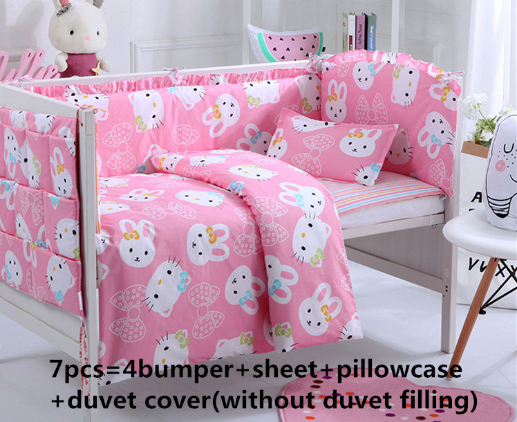Promotion! 6/7PCS Cartoon Baby bed kit 100% cotton summer baby bedding set 100% cotton baby bedding set ,120*60/120*70cm promotion 6 7pcs cartoon baby bedding set 100
