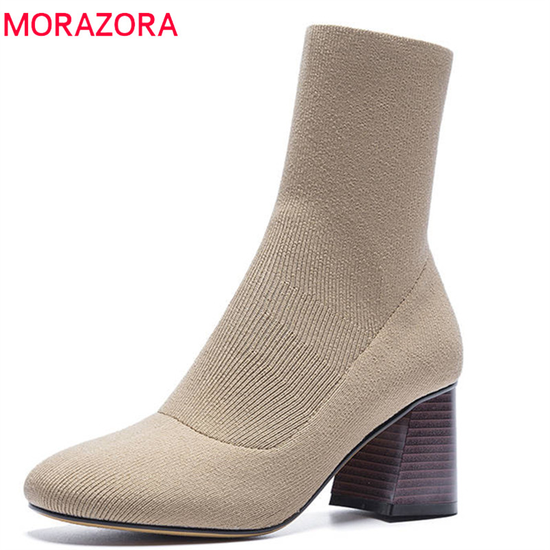 MORAZORA 2018 new fashion ankle boots for women round toe slip on Stretch socks boots elegant high heels shoes autumn bootsMORAZORA 2018 new fashion ankle boots for women round toe slip on Stretch socks boots elegant high heels shoes autumn boots