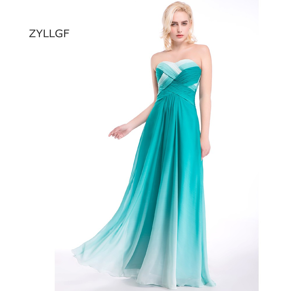 ZYLLGF Gradient Bridesmaid Dress Sheath Sweetheart Long Chiffon 8th ...