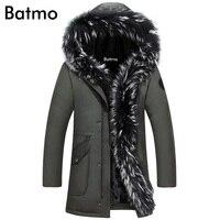 Batmo 2018 new arrival winter high quality 90% white duck down fur collar Hat Detachable jacket men,winter men's coat plus size