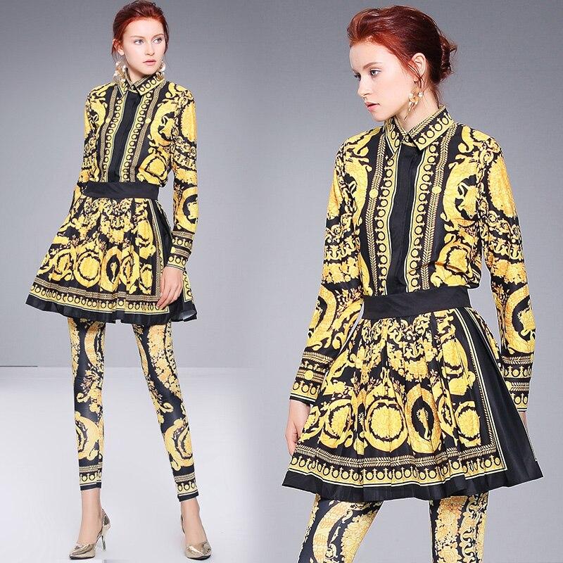2018 Autumn Fashion Design Runway Tousers Suit 3pcs Women's Long Sleeve Pattern Print Pullovers Top+ Vintage Pants Skirts Set