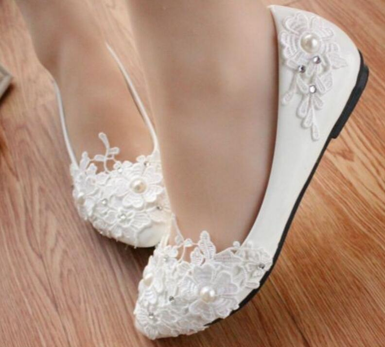 White Lace Wedding Shoes Women Handmade Beautiful Unique