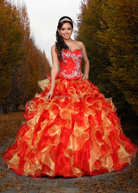 2742c69d72b Stunning Beaded Embroidery Quinceanera Dresses Ball Gowns Cheap Debutante  Gown Sweetheart Ruffles Organza Red and Gold BQ412